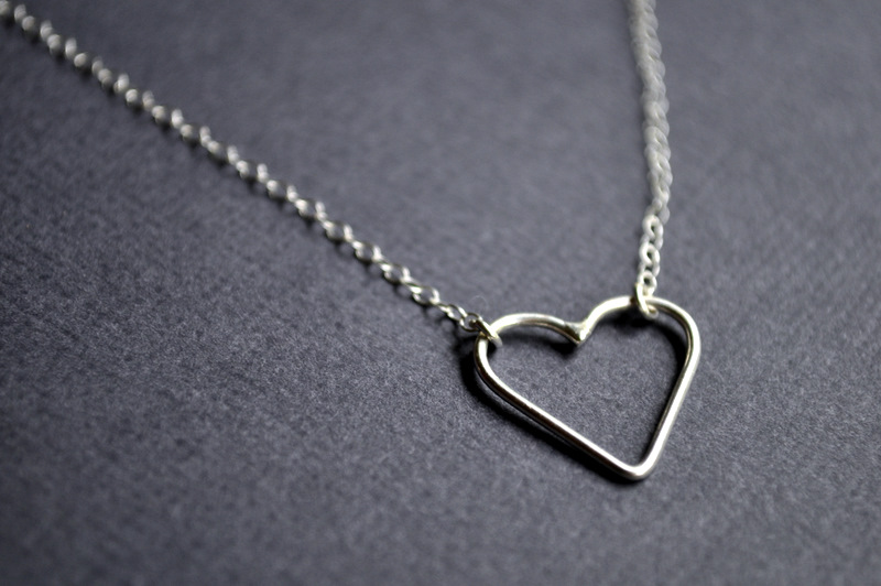 Sterling silver handforged delicate heart.