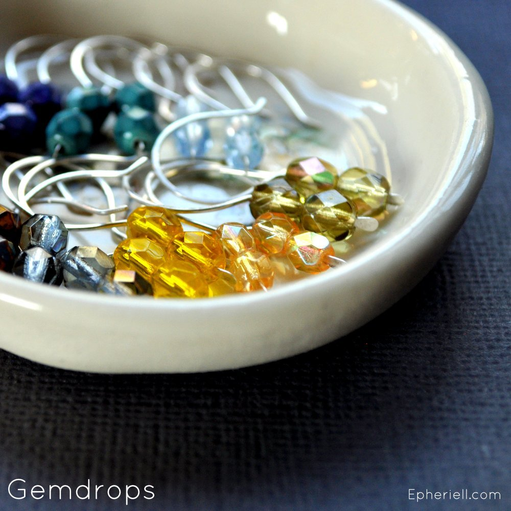 Gemdrops Earrings - Collectable, Colourful. Handmade by Epheriell