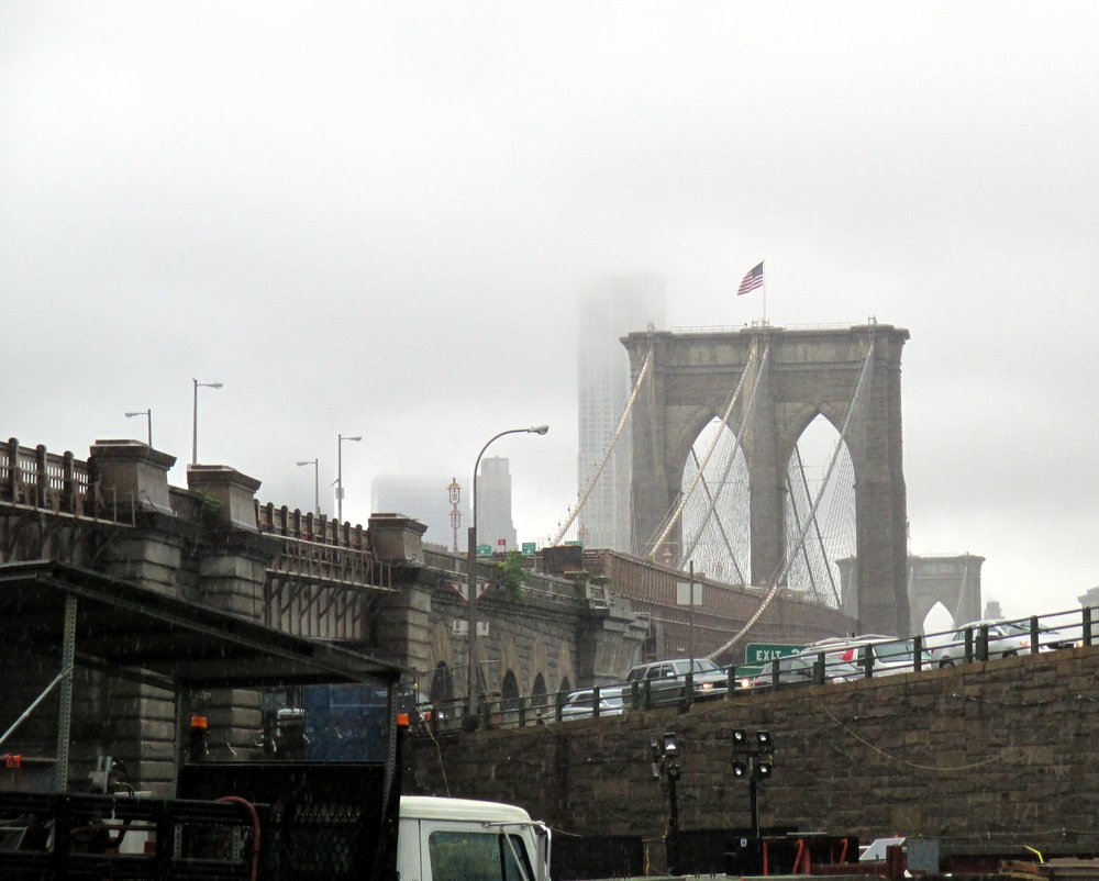 Brooklyn Bridge in the rain