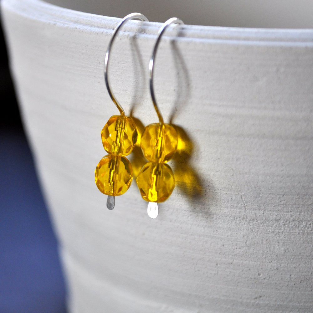 Gemdrops Earrings. Honey Yellow Faceted Beads. Handmade by Epheriell