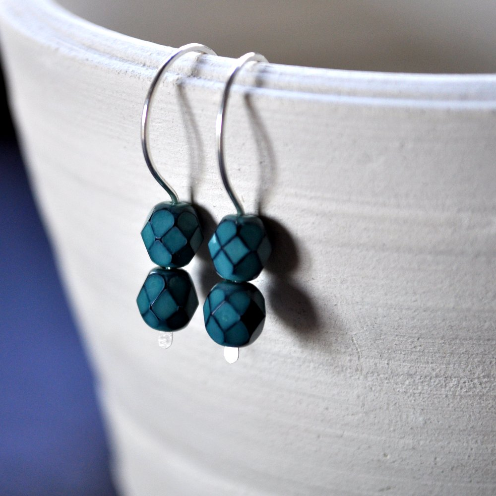 Dark Aqua Gemdrops Earrings - Sterling Silver Handmade in Australia by Epheriell