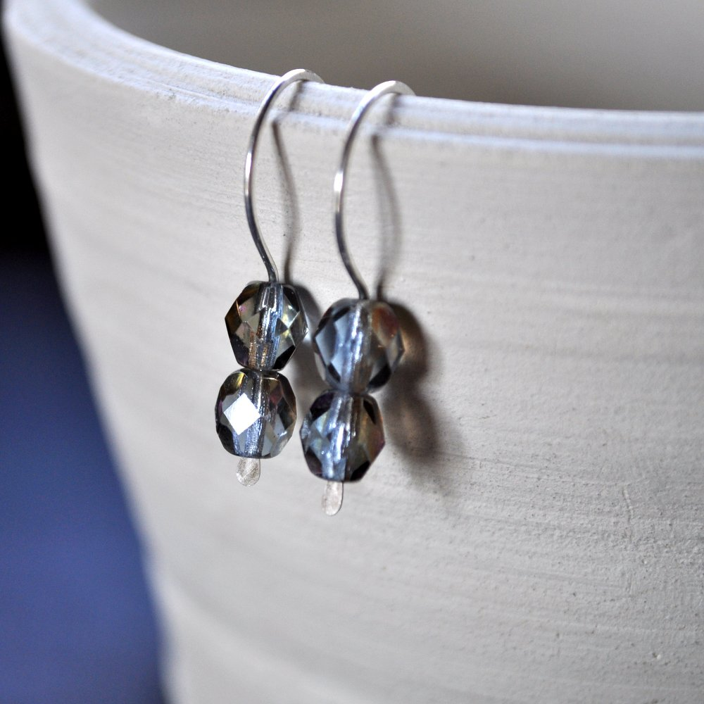 Gemdrops Earrings. Smoky Blue + Brown. Sterling Silver.