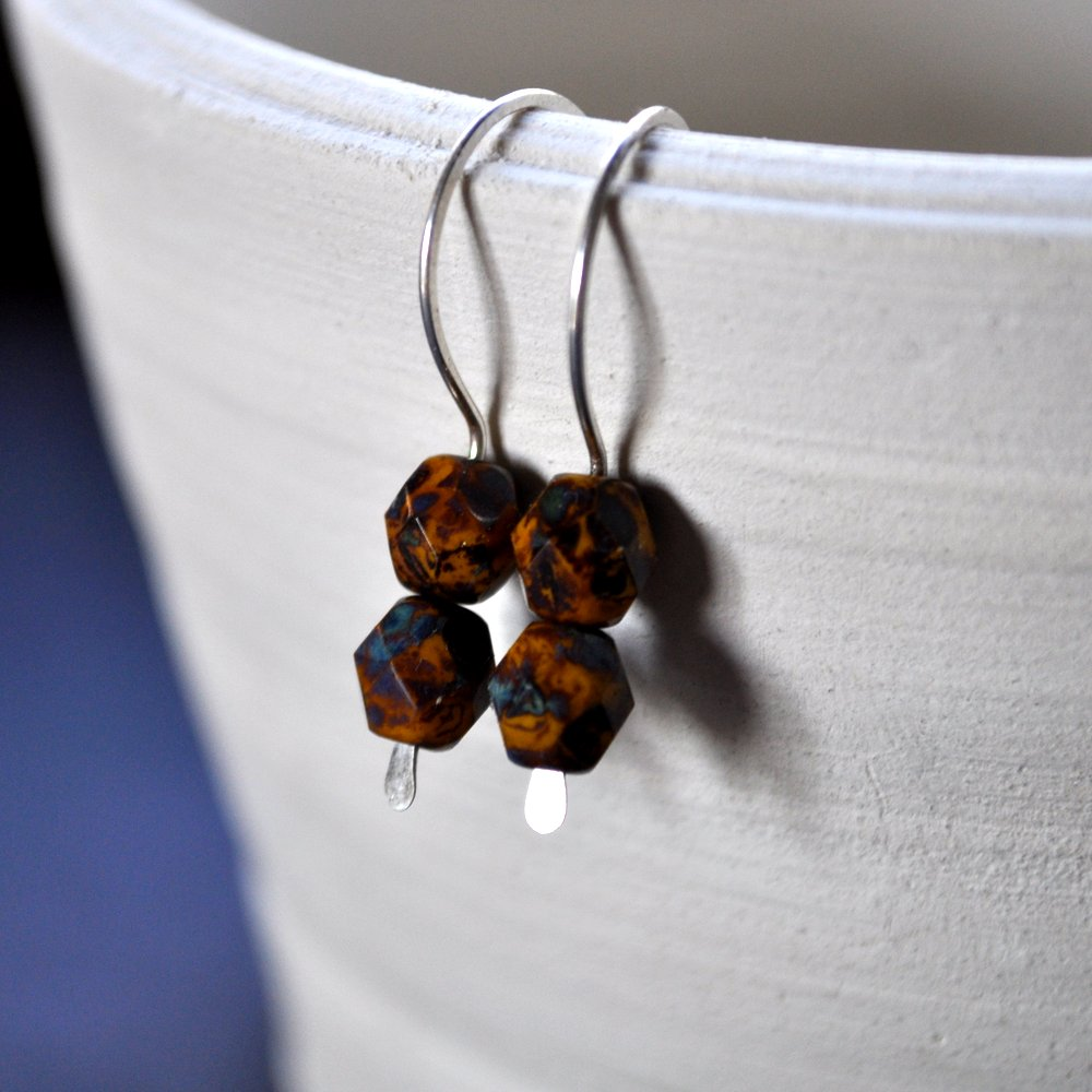 Gemdrop Earrings. Tan + Brown + Blue Faceted Beads.