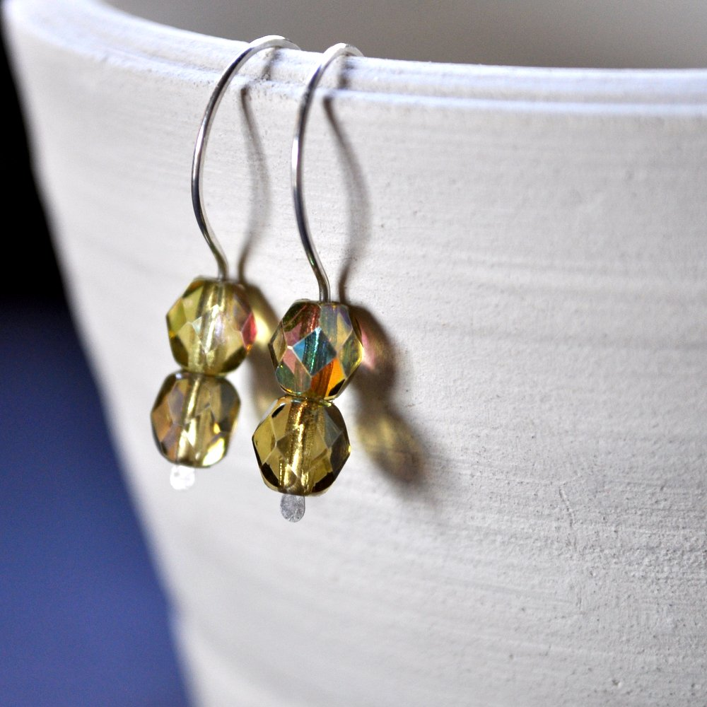 Gemdrop Earrings. Pale Yellow + Green Faceted Beads. Sterling Silver.
