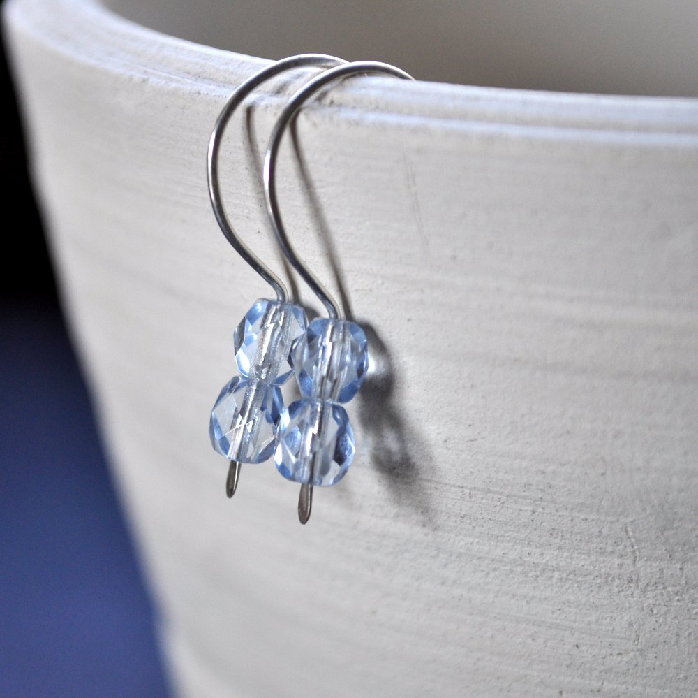 Gemdrop Earrings. Pale Ice Blue Faceted Beads.