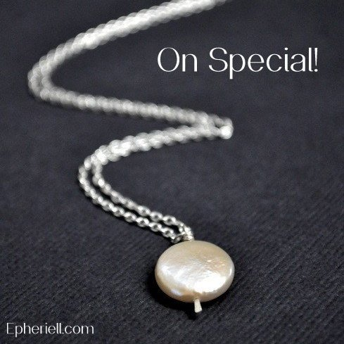 September Special {2013} White Coin Pearl Earrings + Necklace