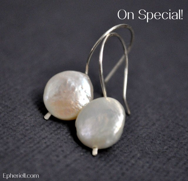 White Coin Pearl Earrings - Sterling Silver