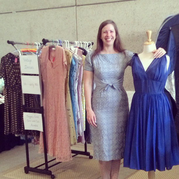 jess with her vintage dress stash