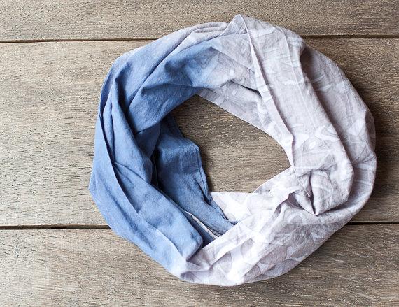infinity loop scarf light denim blue and grey