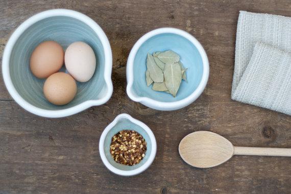 eggshell blue ceramic stacking bowls