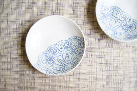 ceramic handmade plate with blue swirl lace motif