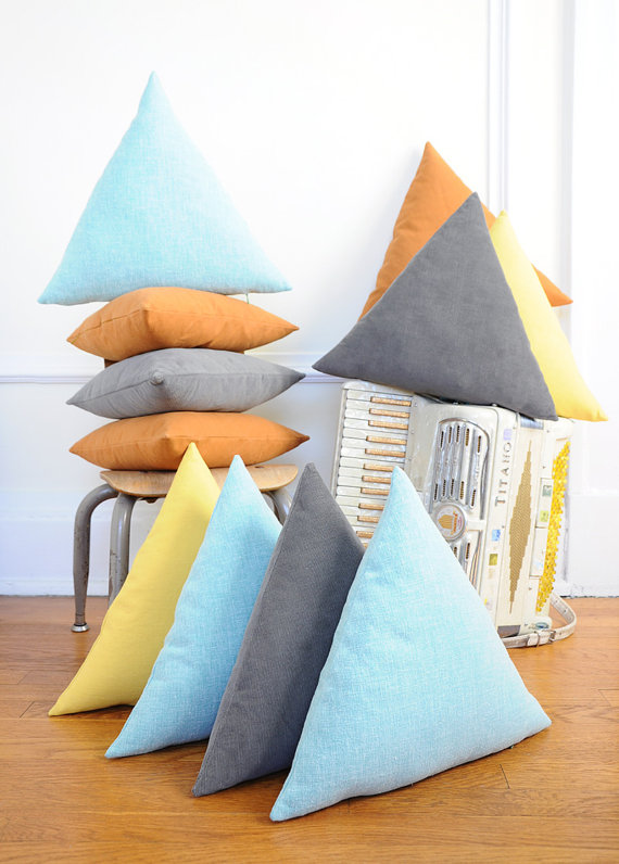 triangle pillows cushions in pastel colours