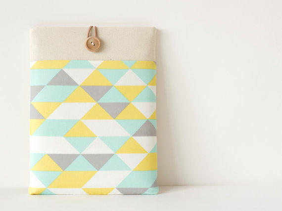 triangle ipad case mint yellow grey cream