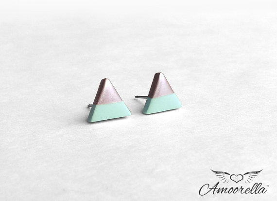 triangle earrings mint and silver