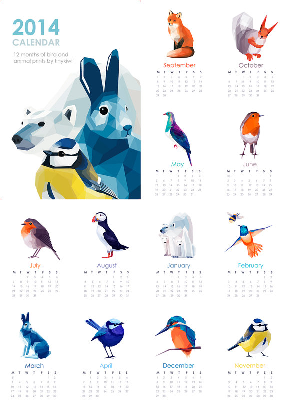 geometric animals 2014 calendar
