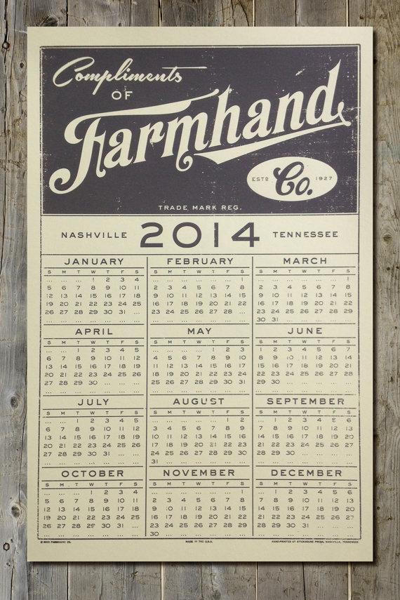 vintage style farmhand co 2014 calendar