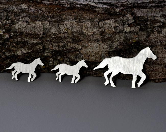 Custom Order - Sterling Silver Horse Necklace + Earrings (1)