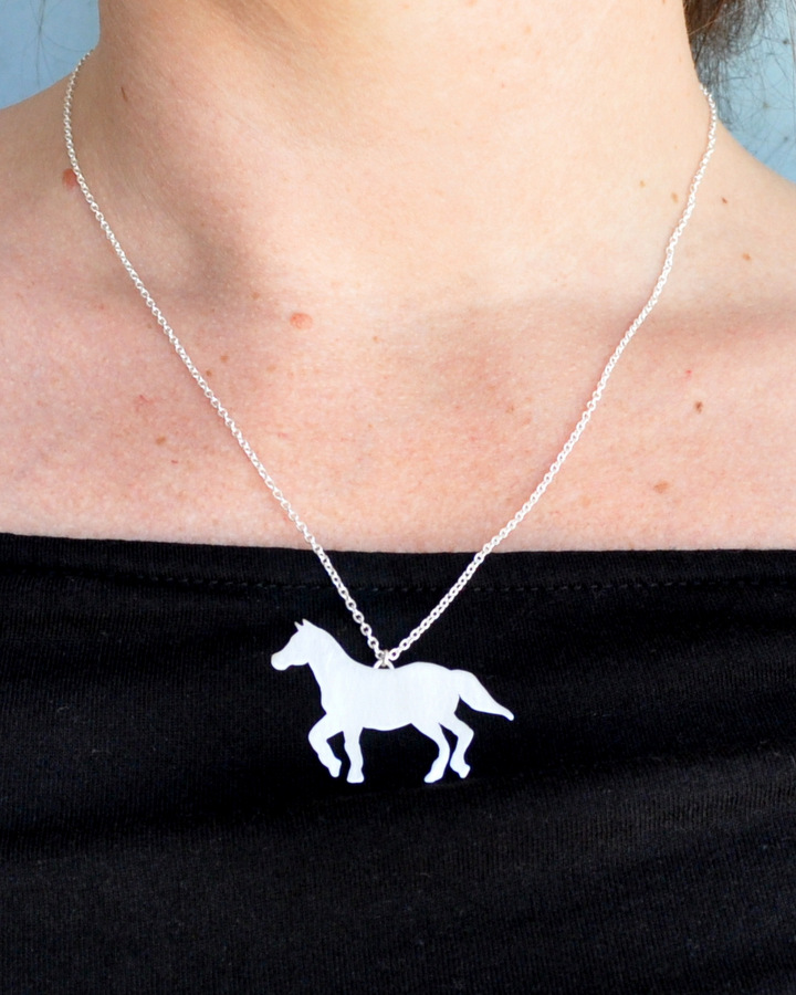 Custom Order - Sterling Silver Horse Necklace + Earrings (2)