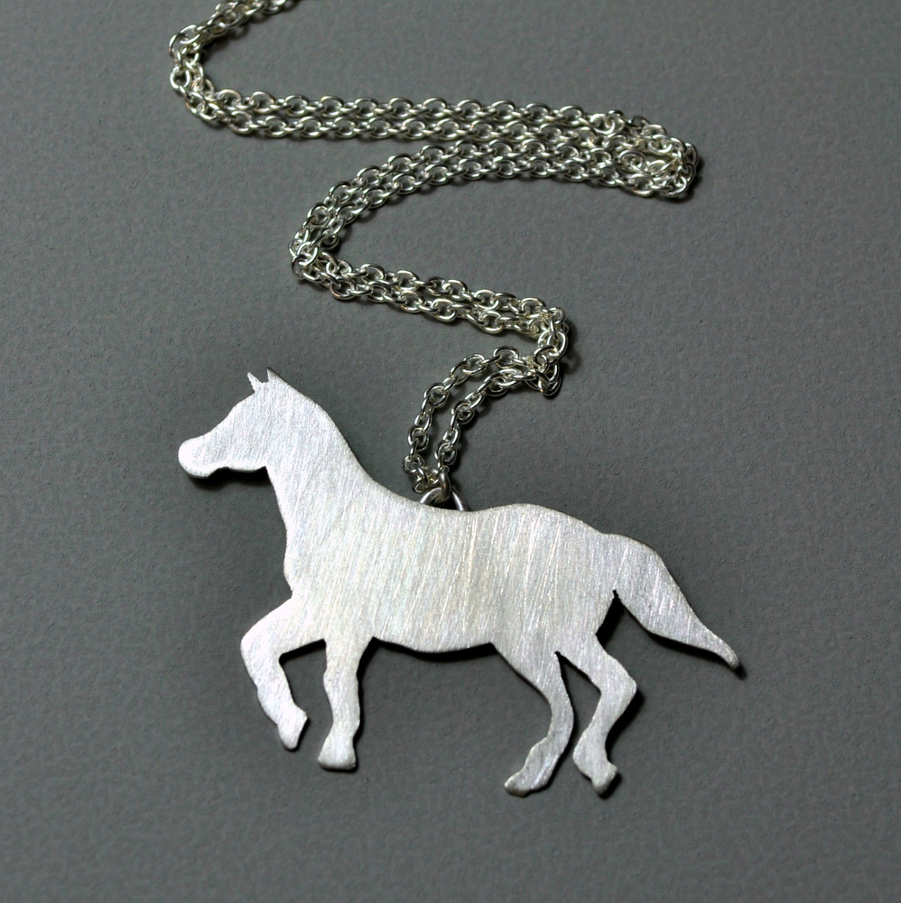 Custom Order - Sterling Silver Horse Necklace + Earrings (3)