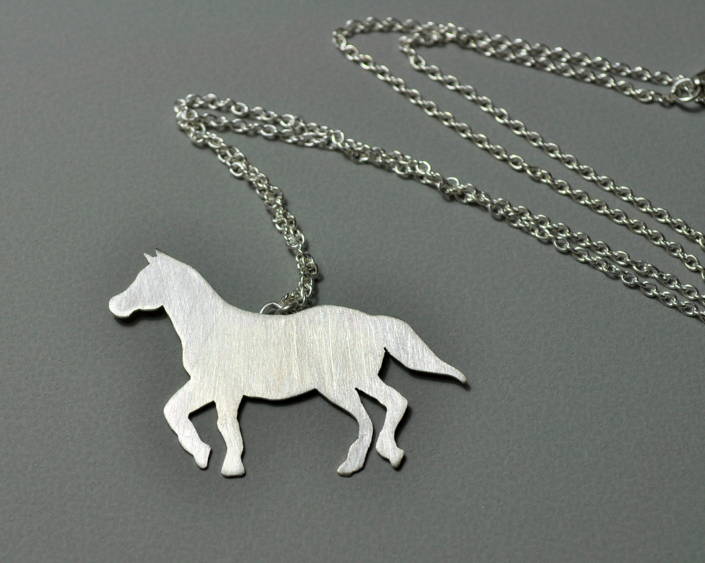 Custom Order - Sterling Silver Horse Necklace + Earrings (5)