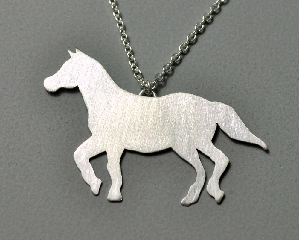 Custom Order - Sterling Silver Horse Necklace + Earrings (6)