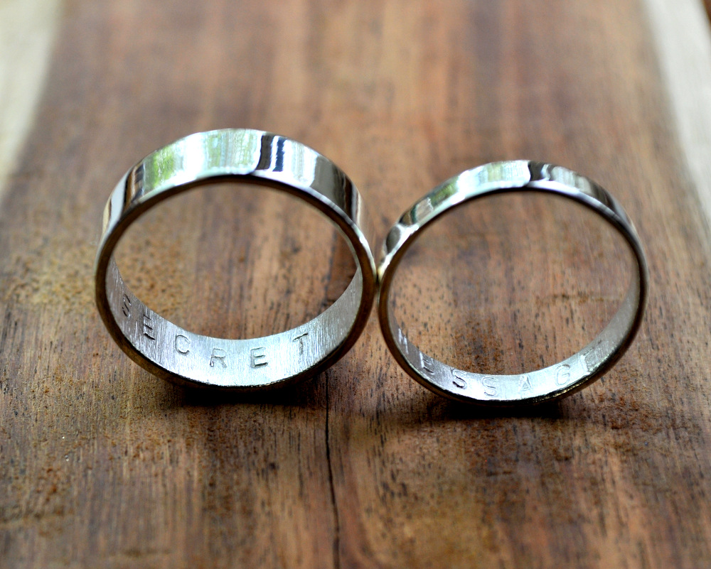 Secret Message Rings - Mirror Shine - 6mm + 3 (6)