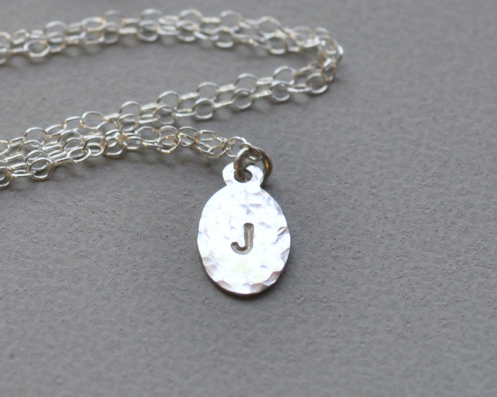Petite Initial Necklace - Hammered Detail - Single Letter (7)