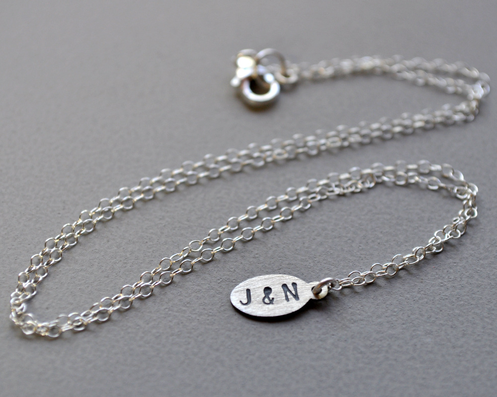 Petite Initial Necklace - Oxidised Detail - Letter and Letter (6)