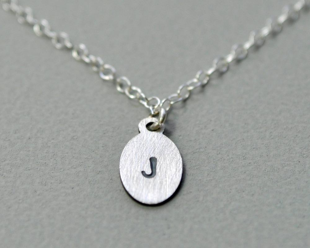 Petite Initial Necklace - Oxidised Detail - Single Letter (1)