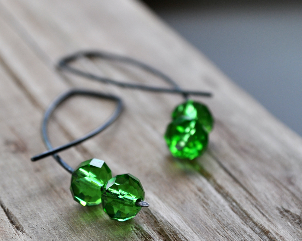 Emerald Pool - Oxidised Urban Candy Earrings - Entwined (5)
