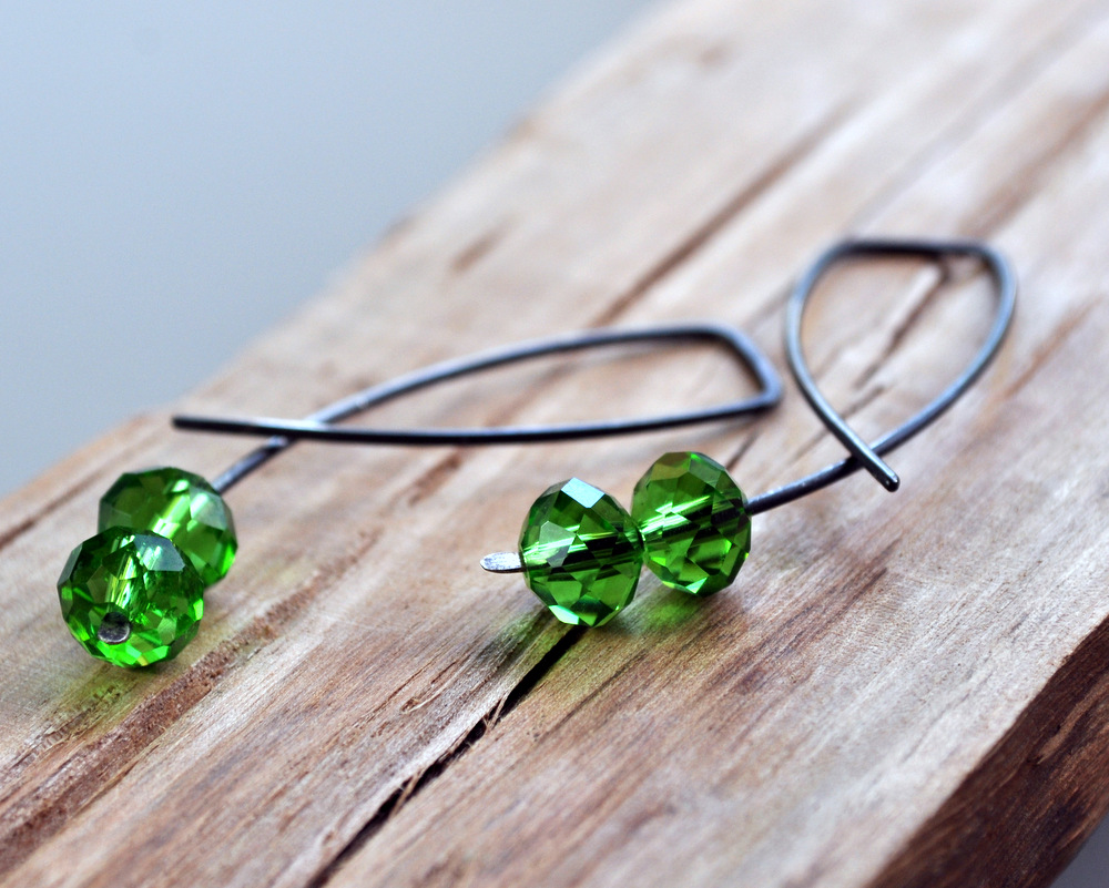 Emerald Pool - Oxidised Urban Candy Earrings - Entwined (6)