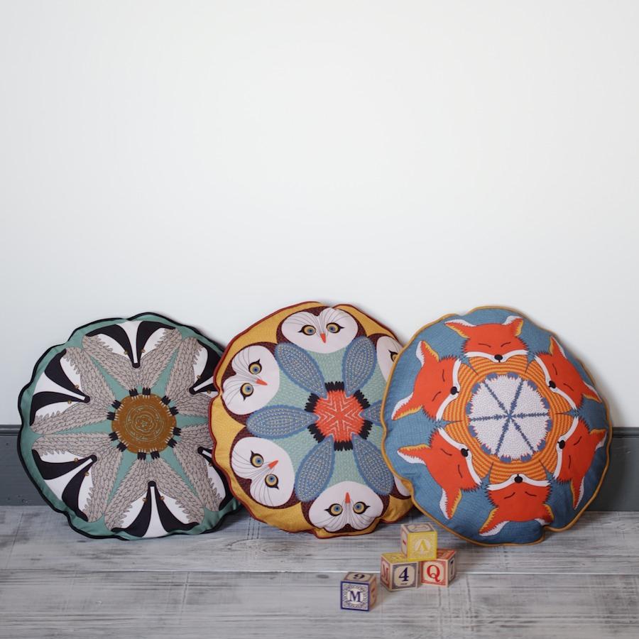 set of three wildlife cushions