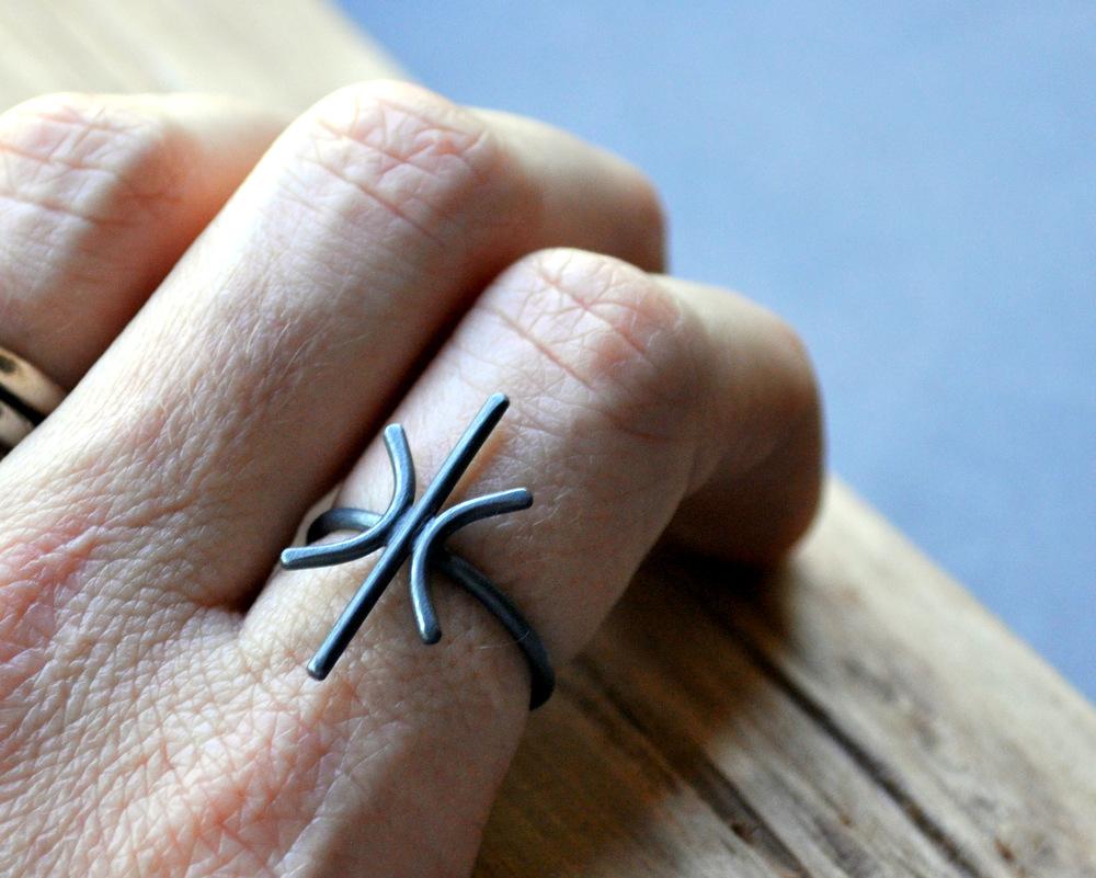 Starburst Ring in Oxidised Finish (2)