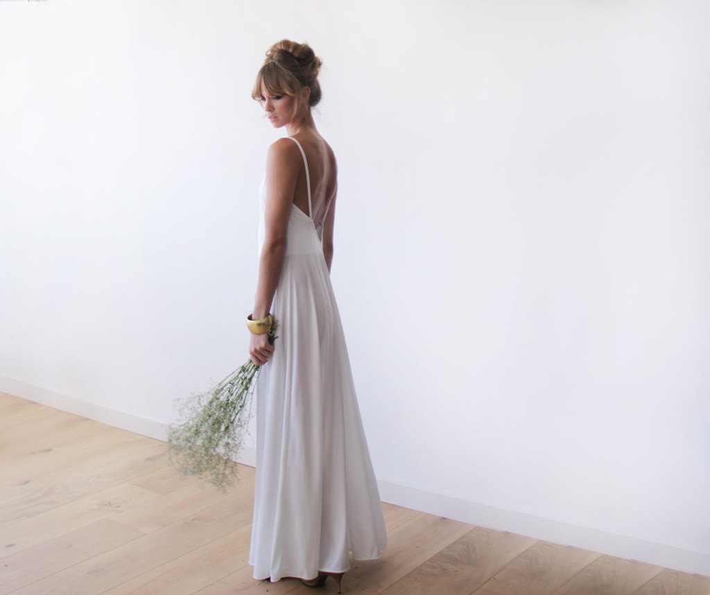blush fashion casual wedding dress