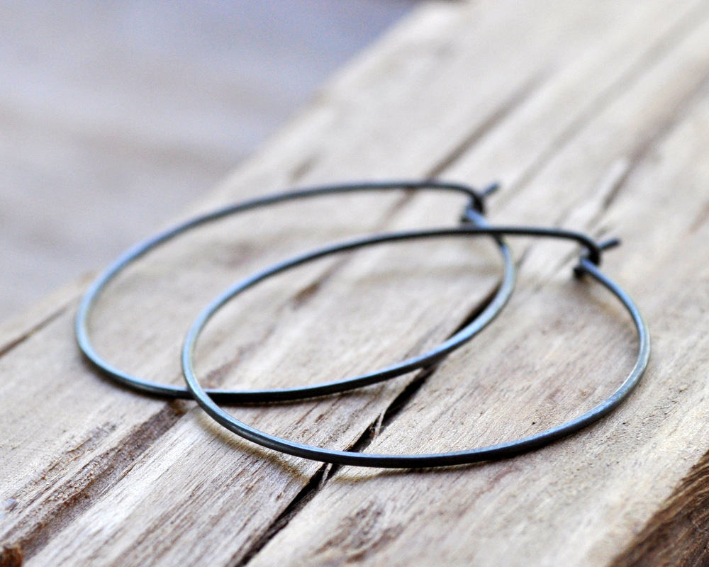 Large Oxidised Hoop Earrings (4)