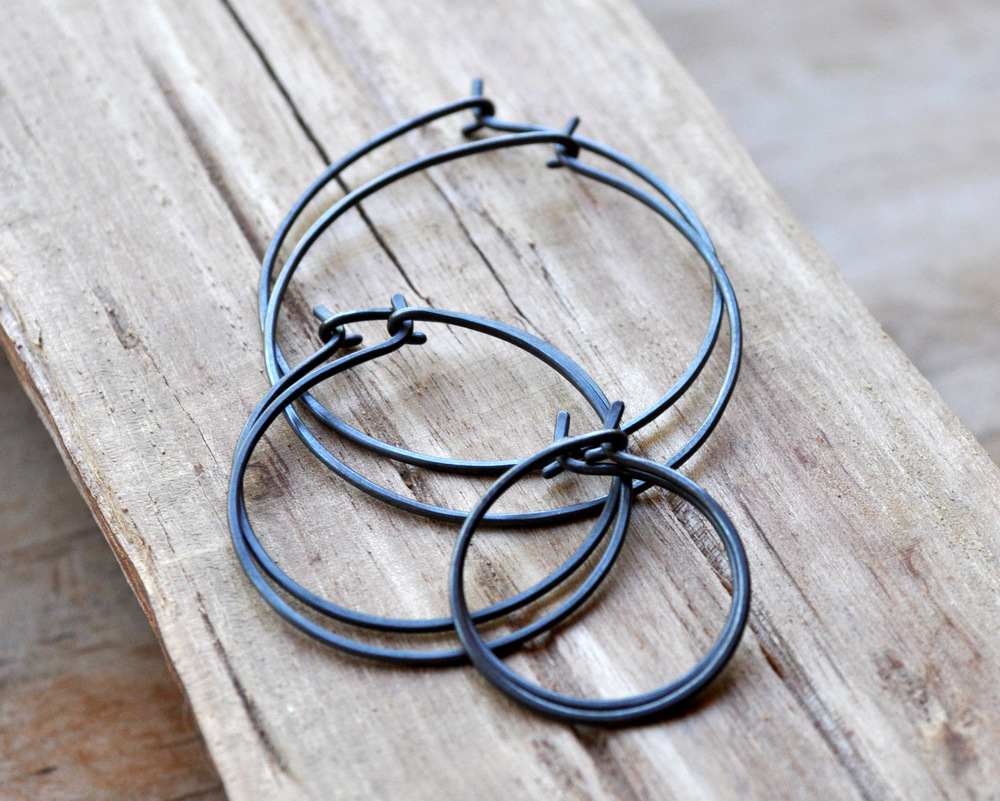 Oxidised Hoop Earrings Size Comparison