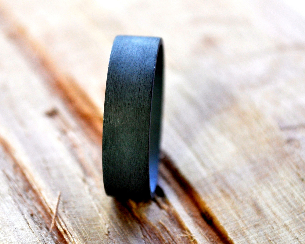 Oxidised Wide Flat Men's Band 6mm (3)