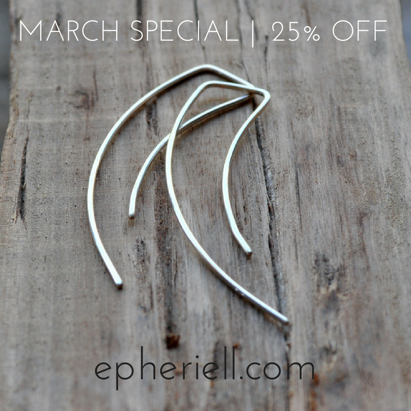 March Special 2017: Streamlined Earrings 25% off!