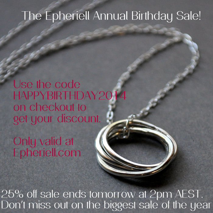 Epheriell is OPEN – And it's Time for the Annual Birthday Sale! (24 hours only…)