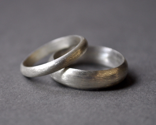 Sterling Silver Wedding Bands.Handmade Sterling Silver Wedding Band Set 5mm 3mm Matte Finish