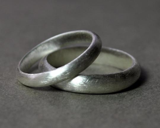 Handmade Sterling Silver Wedding Band Set 4mm 3mm Matte Finish