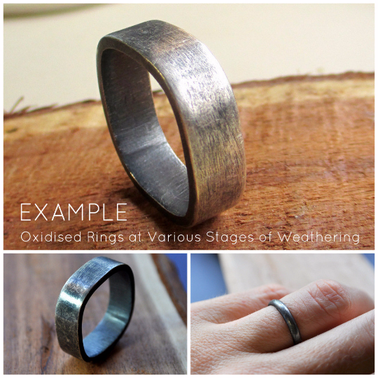 Handmade Sterling Silver Wedding Band U2013 Oxidised U0026 Distressed U2013 Rustic Bark