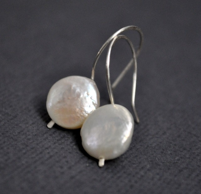 Handmade Sterling Silver White Coin Pearl Earrings